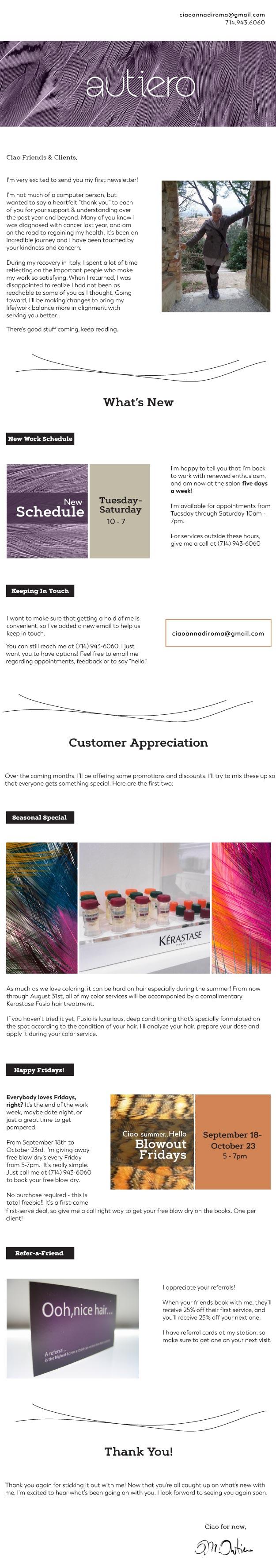 newsletter design hair stylist flux appeal
